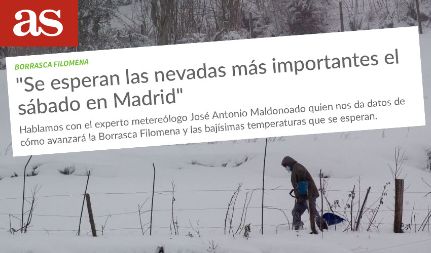 Meteored en As: importantes nevadas en Madrid